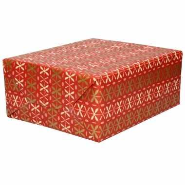 Inpakpapier/cadeaupapier rood roze/gouden kruisjes 200 x 70 cm