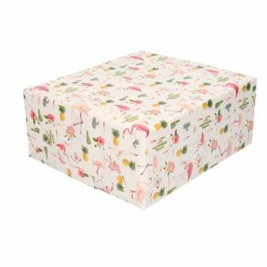 Inpakpapier/cadeaupapier roze flamingos 200 x 70 cm
