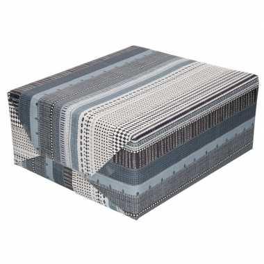 Inpakpapier/cadeaupapier wit/grijs high tech print 200 x 70 cm