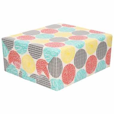 Inpakpapier/cadeaupapier wit met gekleurde rondjes 200 x 70 cm
