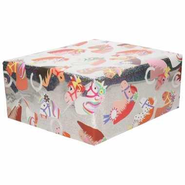 Inpakpapier/cadeaupapier zilver paarden 200 x 70 cm