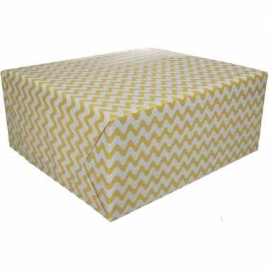Inpakpapier grafisch geel 200 x 70 cm op rol