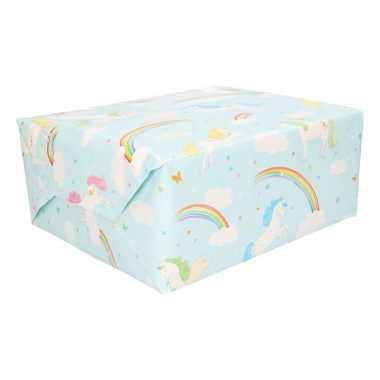 Inpakpapier lichtblauw eenhoorn 200 x 70 cm op rol