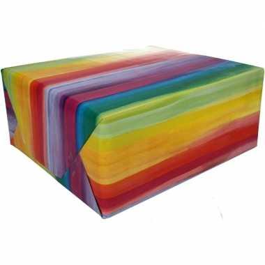 Inpakpapier met gekleurde strepen 200 x 70 cm op rol type 2