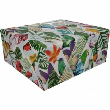 Inpakpapier met papegaaien print 200 x 70 cm op rol