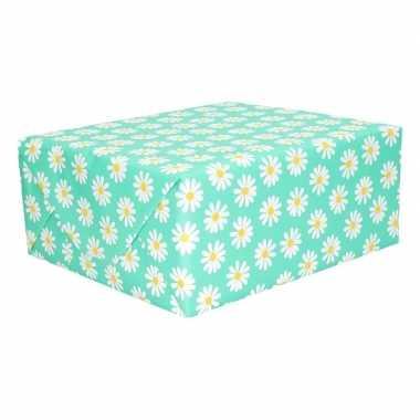 Inpakpapier mint groen met bloemen 200 x 70 cm