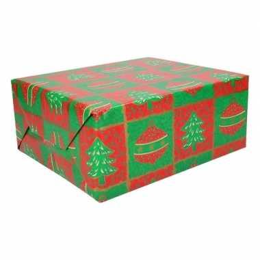Inpakpapier rood/groen 70 x 200 cm type 1