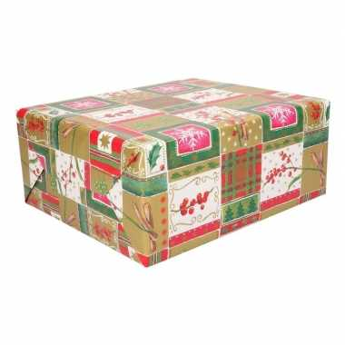 Inpakpapier rood/groen/goud 70 x 200 cm type 6