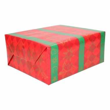 Inpakpapier rood met groene strepen 70 x 200 cm type 3