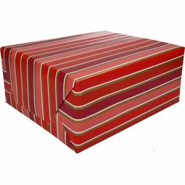 Inpakpapier rood/roze met strepen 200 x 70 cm op rol type 7
