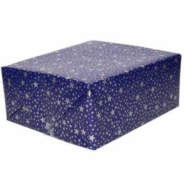 Kerst inpakpapier blauw met zilveren sterren print 200 x 70 cm