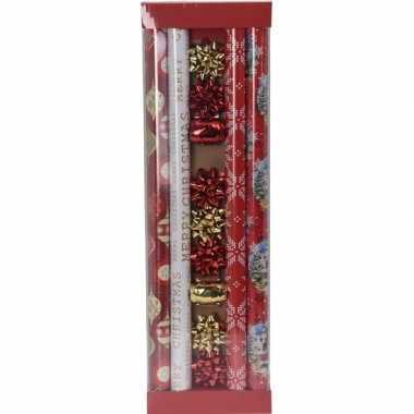 Kerst inpakpapier/cadeaupapier set rood/goud 13 delig