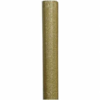 Kerst inpakpapier goud/glitters 70 x 150 cm