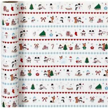 Kerst inpakpapier met pooldieren print 400 x 70 cm