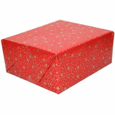 Kerst inpakpapier rood met gouden sterren print 200 x 70 cm