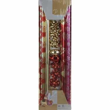 Kerst inpakpapier set rood/goud 200 x 70 cm