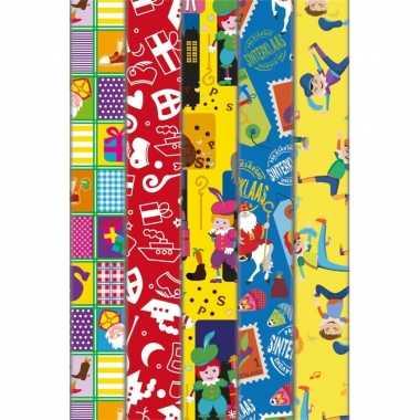 Pakket van 10x rollen sinterklaas inpakpapier/cadeaupapier diverse prints 2 x 0,46 meter