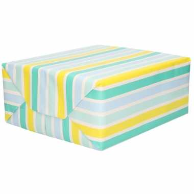 Rollen inpakpapier/cadeaupapier blauw/geel gestreept 200 x 70 cm rol