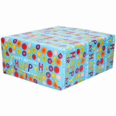 Rollen inpakpapier/cadeaupapier blauw met happy birthday design 200 x