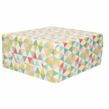 Rollen inpakpapier/cadeaupapier driehoekje sprint pastel tinten 200 x 70 cm