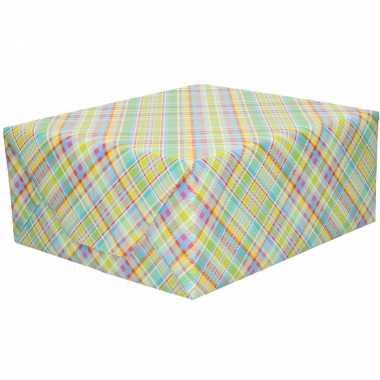 Rollen inpakpapier/cadeaupapier gekleurde ruiten zigzag print 200 x 7