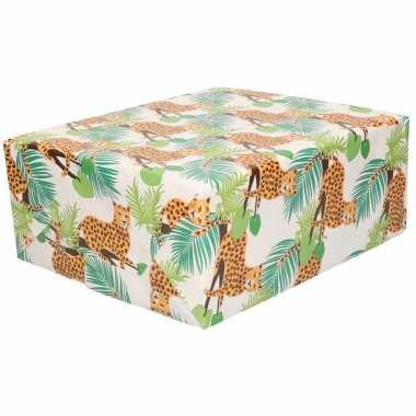 Rollen inpakpapier/cadeaupapier luipaard design 200 x 70 cm