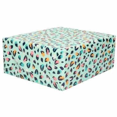 Rollen inpakpapier/cadeaupapier mintgroen met gekleurde panterprint d