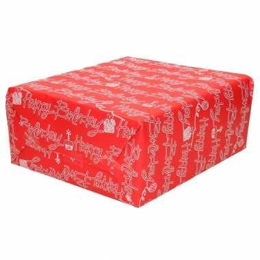 Rollen inpakpapier/cadeaupapier rood met happy birthday tekst 200 x 7