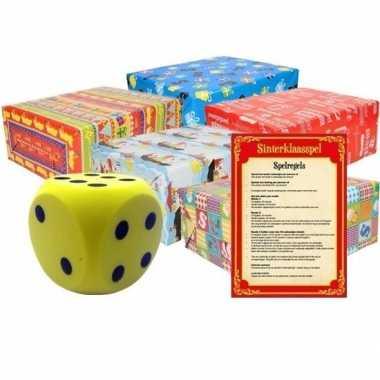 Sinterklaasspel met gele dobbelsteen en 5x inpakpapier rollen