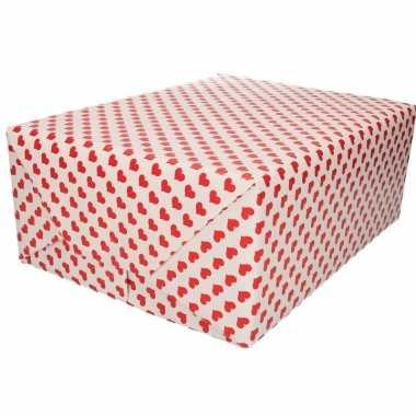 Valentijn inpakpapier/cadeaupapier rood hart print 200 x 70 cm