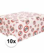 10x inpakpapier cadeaupapier 50 jaar 300 x 70 cm op rol
