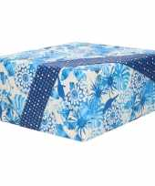 1x inpakpapier cadeaupapier blauw wit bloemen patroon 200 x 70 cm