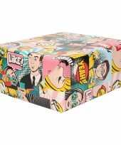 1x inpakpapier cadeaupapier gekleurd met comic book stripverhaal thema 200 x 70 cm