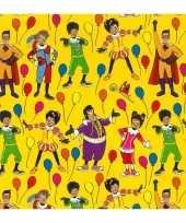 1x rollen inpakpapier cadeaupapier club van sinterklaas geel 200 x 70 cm