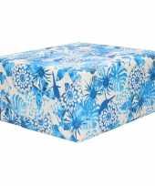 1x rollen inpakpapier cadeaupapier dubbelzijdig blauwe bloemen print 200 x 70 cm