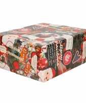 1x rollen kerst inpakpapier cadeaupapier gekleurd met songteksten 2 5 x 0 7 meter