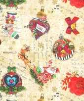 1x rollen kerst inpakpapier cadeaupapier kitsch beige gekleurd 2 5 x 0 7 meter