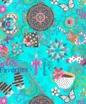 1x rollen kerst inpakpapier cadeaupapier kitsch turquoise gekleurd 2 5 x 0 7 meter