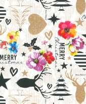 1x rollen kerst inpakpapier cadeaupapier kitsch wit gekleurd 2 5 x 0 7 meter