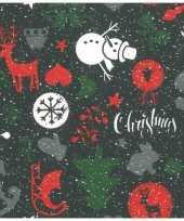 1x rollen kerst inpakpapier cadeaupapier zwart 2 5 x 0 7 meter 10231626