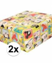 2x disney inpakpapier cadeaupapier mickey mouse 200 x 70 cm rol