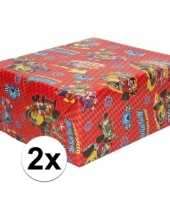 2x inpakpapier cadeaupapier disney mickey mouse 200 x 70 cm rood