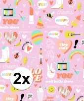 2x inpakpapier cadeaupapier girlpower 200 x 70 cm roze