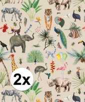 2x inpakpapier cadeaupapier jungle 200 x 70 cm