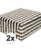 2x inpakpapier cadeaupapier metallic goud zwart wit 150 x 70 cm