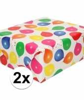 2x inpakpapier cadeaupapier metallic wit ballonnen 150 x 70 cm