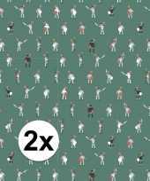 2x inpakpapier cadeaupapier ridder 200 x 70 cm groen wit