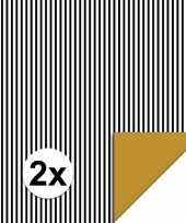 2x inpakpapier cadeaupapier streepjes 200 x 70 cm zwart wit