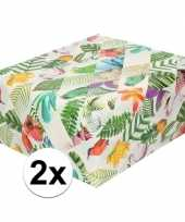 2x inpakpapier cadeaupapier tropische vogels 200 x 70 cm