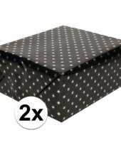2x inpakpapier cadeaupapier zwart sterren 150 x 70 cm rollen